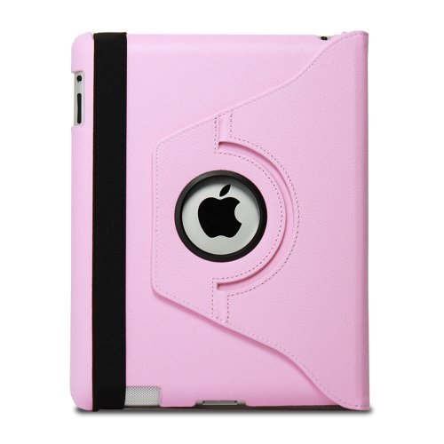Fosmon 360 Degree Revolving PU Leather Case With Multi Angle Stand for Apple New iPad 3 - Pink (w/Magnetic Sleep Function)