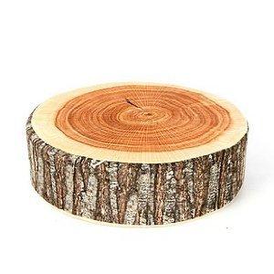 おもしろ昼寝グッズ 丸型リアル木材風 (1)