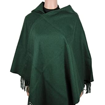 Wool Poncho -Asymmetrical Collar - Hunter Green