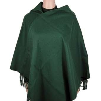 Wool Poncho -Asymmetrical Collar - Hunter Green