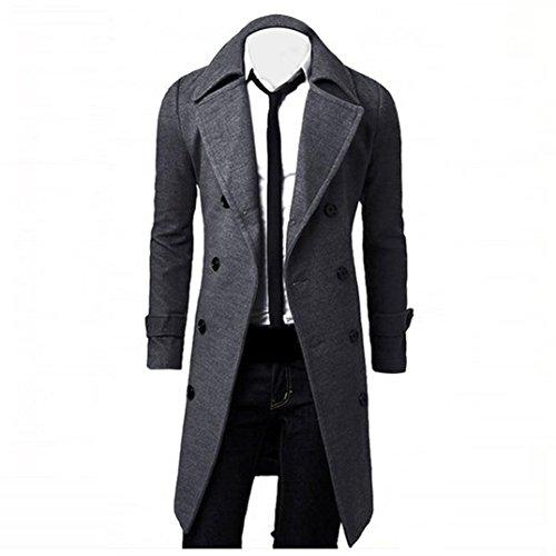 Reasoncool Inverno Uomo alla moda sottile Trench Doppio Petto Giacca Lunga Parka (XL, Grigio)
