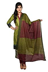 Green and Maroon Cotton Unstitched Dress Material