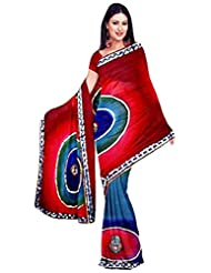 Vamika Chiffon Printed Saree (Red)