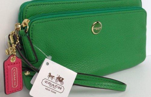 Poppy Double Zip Wallet Coach Poppy Leather Double Zip