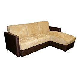 Convertible Sectional Sofa Bed - Camel/ Chocolate