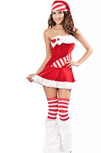 Dear-Lover Women's Sexy Miss Candy Cane Chiristmas Costume