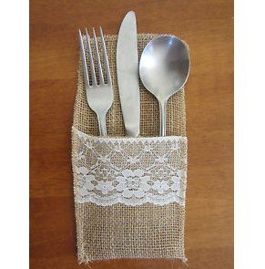 12pcs Wedding Table Decoration/table Decorationaccessories Burlap Silverware Holders/country Wedding Jute Lace Pouch Cover