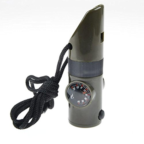 1Pc Superior Popular 7in1 LED Flashlight Camping Torch Magnifier Portable Storage Color Olive Green