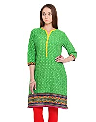 Adyana Women's Kurti (AD041_Green_Medium)