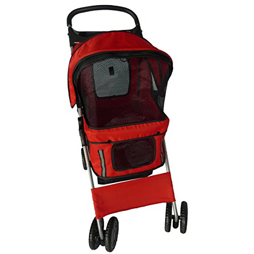 Pingkay Red Color Deluxe Folding 4 Wheels Travel Pet Dog Cat Carrier Stroller