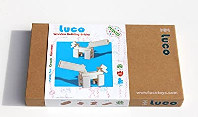 Luco Wooden Building Bricks/Blocks | Natural Wood | Eco-Friendly | Educational Construction Toy Set | 100% All Natural Rubber Wood | Paint Free | Architectural Building Set for Boys & Girls | 65 Pcs.