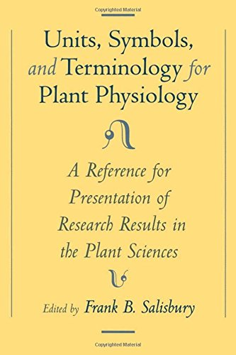 Units, Symbols, and Terminology for Plant Physiology: A Reference for Presentation of Research Results in the Plant Scie