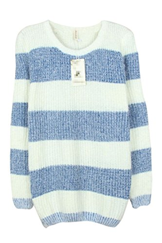 Pink Wind Womens Lady Stripe Long Sleeve Sweater Pullover Tops Blue