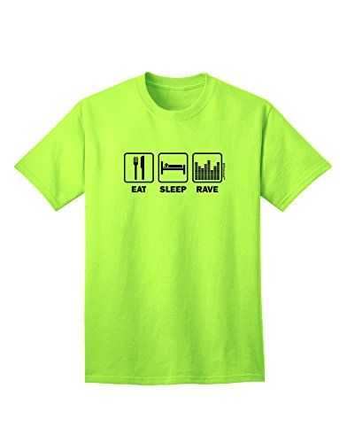 TooLoud Eat Sleep Rave Adult T-Shirt – Neon-Green – XL