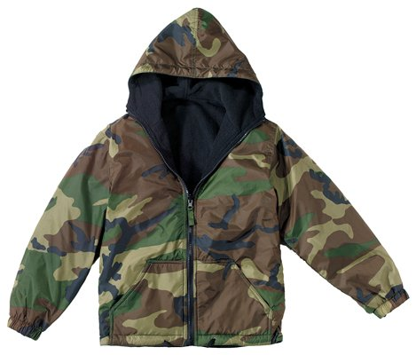 WATERPROOF NYLON (WOODLAND CAMO) OUTER SHELL : REVERSIBLE BLACK ...