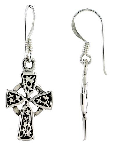 Sterling Silver High Cross Celtic Dangle Earrings Braided Loop Design, 1 1 inch (48 mm) tall
