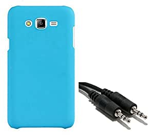 Chevron Rubberized Matte Hard Back Cover Case for Samsung Galaxy J7 with Aux Cable (Aqua Blue)
