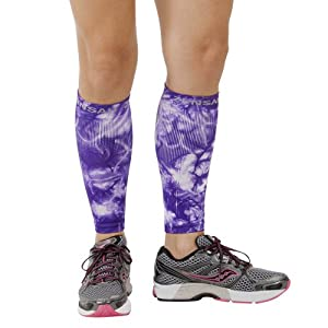 Zensah Compression Leg Sleeves, Tie Dye Violet, Small/Medium