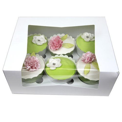 Cupcake Boxes with Window White with Inserts, 7 x 9 x 3 Inches, 5 Count by GSA