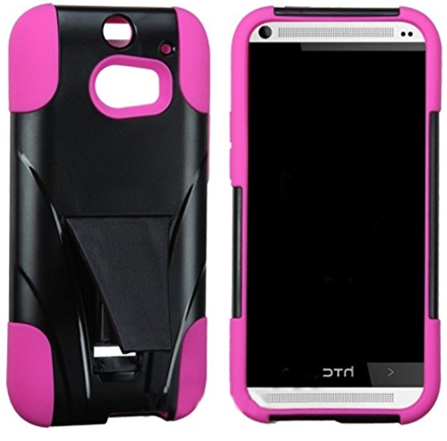 Mylife Abyss Black + Sweet Pink {Advanced Design} Two Piece Neo Hybrid (Shockproof Kickstand) Case For The All-New Htc One M8 Android Smartphone - Aka, 2Nd Gen Htc One (External Hard Fit Armor With Built In Kick Stand + Internal Soft Silicone Rubberized F