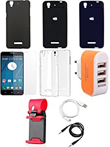 NIROSHA Tempered Glass Screen Guard Cover Case USB Cable Mobile Holder Charger Combo for YU Yureka Combo