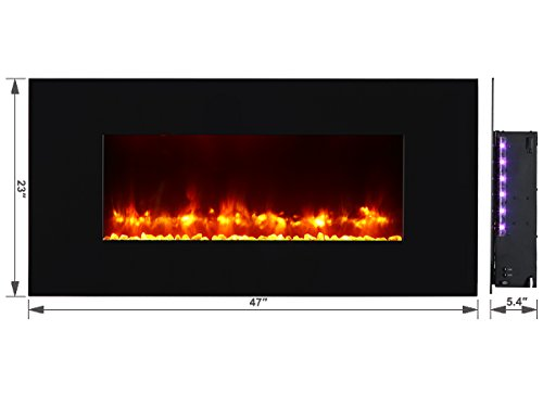 PuraFlame Rossano black 47 inch remote control wall mounted flat panel fireplace heater, 750W/1500W. Classic and high quality, Anti-drying, keep indoor humidity