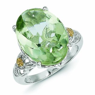 Sterling Silver with 14k Gold Green Quartz Ring - (Size 7)