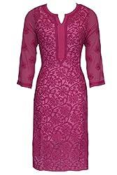 ADA Designer Hand Embroidery Ethnic Wear Straight Chikankari Georgette Kurti A113570