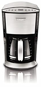 KRUPS KM720 Programmable Coffee Maker with Stainless Steel Housing, 12-Cup, Silver
