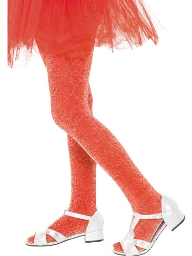 Tights, Red with Silver Sparkle Fancy Dress Girl Costume - 1
