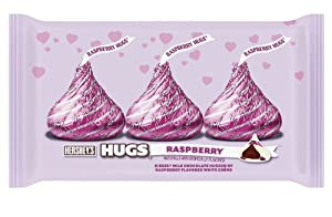 Hershey's Valentine's Hugs Kisses, Milk Chocolate with Raspberry White Crème, 10-Ounce Bags (Pack of 4)
