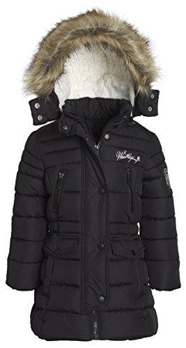 Weatherproof Girl Down Alternative Winter Hooded Lined Puffer Bubble Jacket Coat - Black (Size 6X)