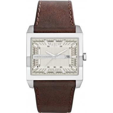 11cb87bd9 Armani Exchange AX Silver Dial Brown Leather Mens Watch AX2204 ...