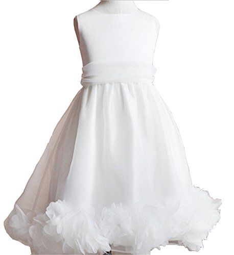 Flower Girl Dress Satin Mesh White Sleeveless Wedding Princess Special Occasion (110Cm(43.3 Inches))