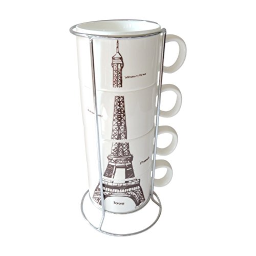 OliaDesign® 4-piece Stackable Porcelain Coffee Cup Tea Cup Set with Metal Stand (Effiel Tower) (Espresso Cup Stand compare prices)