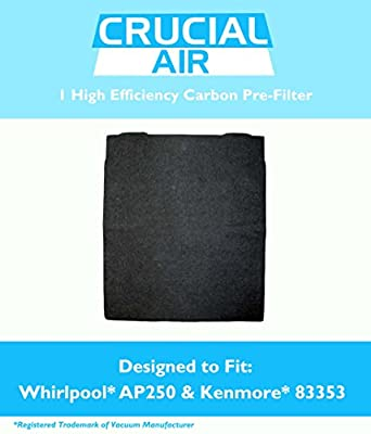 1 Carbon Pre Filter Fits Whirlpool AP150, AP250, 1183051, 1183051K & Kenmore 83377 Air Purifiers, Compare to Part # 8171433K, 8171433, 83377, Designed & Engineered by Crucial Air