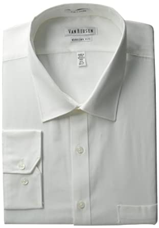 Van Heusen Men's Regular Fit Pincord Dress Shirt, White, 14.5 32-33
