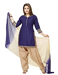 Ritu Creation Women's New Cotton Stitched Patyala Suit With Fancy Coller Neck (Blue)