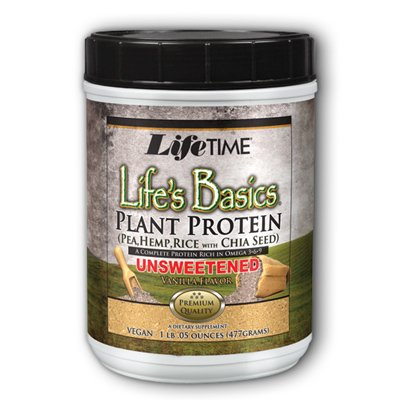 Lifetime Life'S Basics Plant Protein Unsweetened, Natural Vanilla, 1.01 Lb