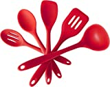Silicone Kitchen Utensil Set (5 Piece) - Hygienic Solid Silicone Design - Cherry Red - 100% FDA Compliant - Premium Cooking Tools Including Silicone Spatula Turner, Spoonula, Mixing Spoon, Slotted Spoon, Ladle - Non Stick Kitchen Tools Set - Heat Resistant Baking Tools, Flexible, Easy to Clean - FREE Cooking eBook - LIFETIME No Fuss Guarantee