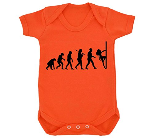 Evolution of Pole Dancing Baby Bodysuit Orange with Black Print