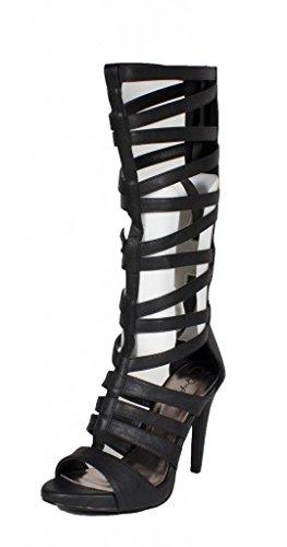 Qupid Gianna-25 Women Strappy Knee High Gladiator High Heel Sandal, Black Leatherette, 6 M Us