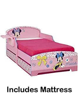 Minnie Mouse Toddler Bed with Storage, Bedside Shelf & Fully Sprung Mattress