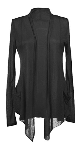 Long Sleeves with Pocket Shawl Collar Open Drape Cardigan 2XL Black