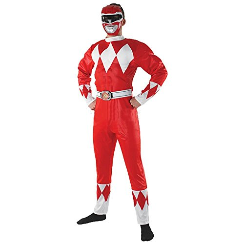 Mighty Morphin Power Ranger Red Fancy Dress Adult Size Costume