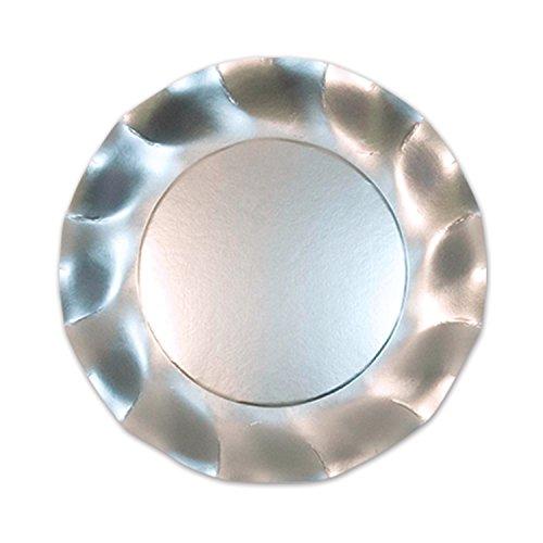 Satin Silver Large Plates (10/Pkg)