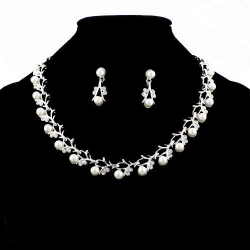 Crystalmood LUX Wedding Floral White Pearl and Swarovski Rhinestone Necklace Earrings Set