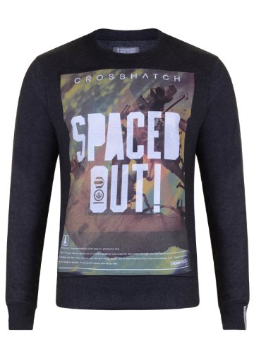 Mens 'CrossHatch' Crew Neck Sweatshirt With Large Print. Style Name - Spaced. In Charcoal Marl Size -XXLarge