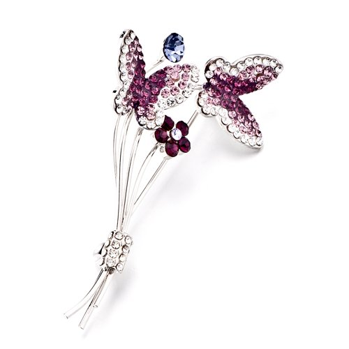 Pugster Christmas Gifts Butterflies Feburary Birthstone Swarovski Crystal Rhinestone Brooches And Pins