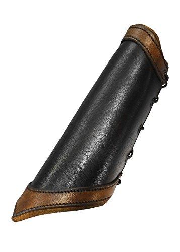 1 Paar einfache Leder Armschienen Schwarz Braun oder Schwarz/Braun Größe S, M oder L Armschoner LARP Mittelalter Schaukampf Wikinger